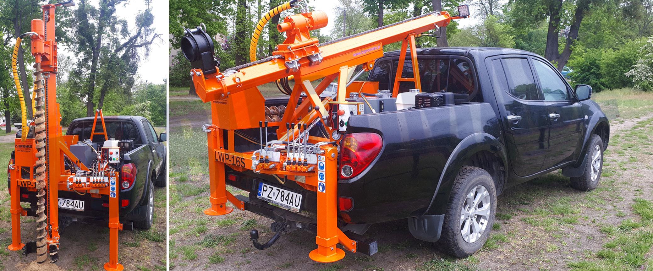 Lekka wiertnica geologiczna na samochodzie pick-up LWP-16S produkcji firmy Bipromasz