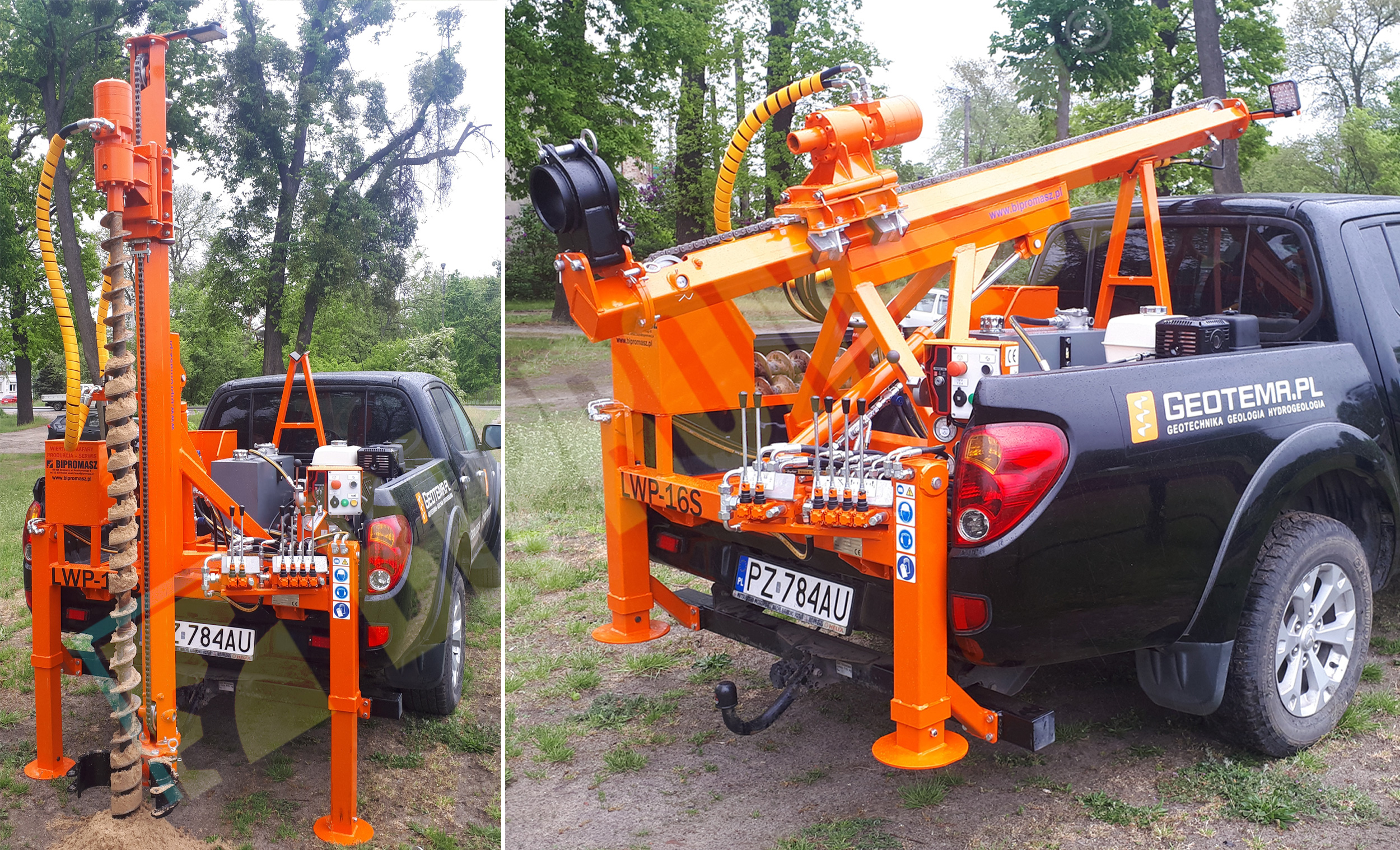 Lekka wiertnica geologiczna na samochodzie pick-up LWP16S produkcji Bipromasz