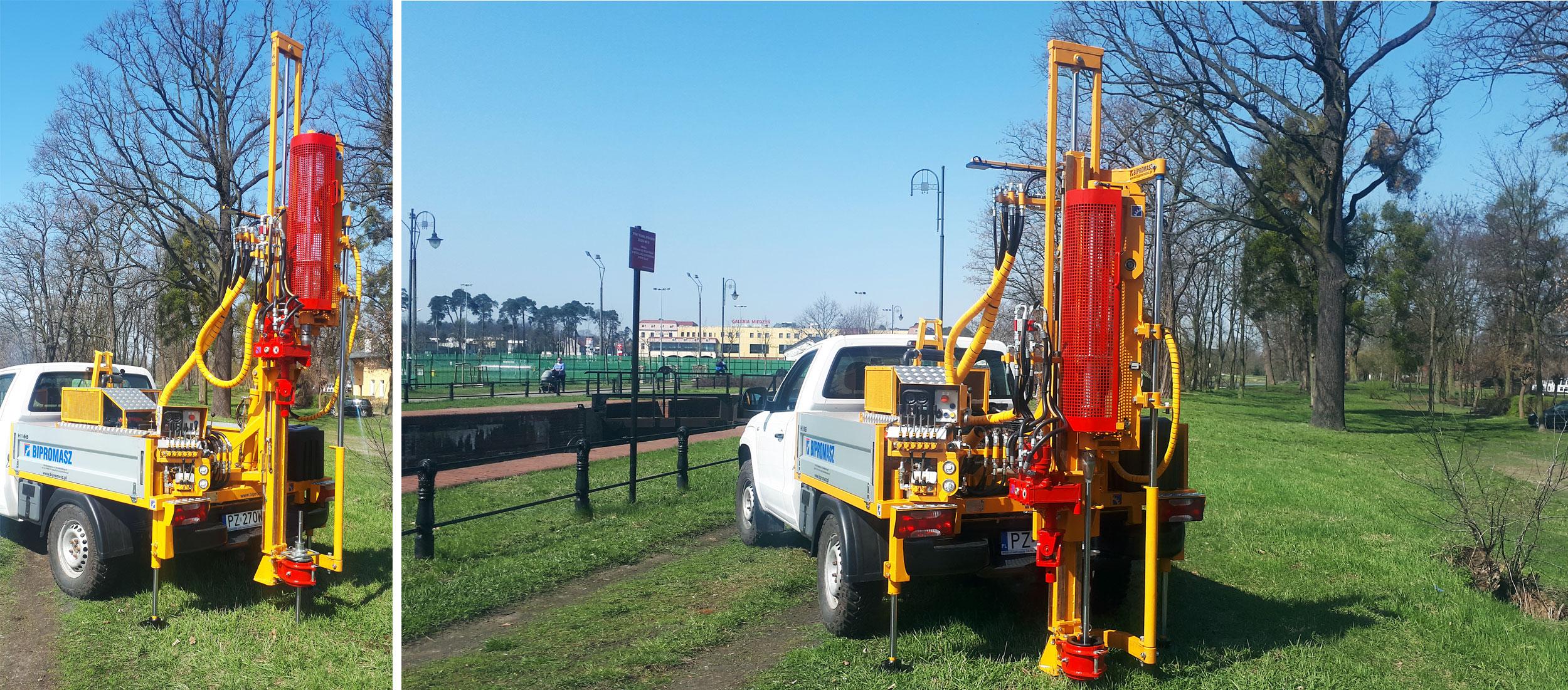 Sonda dynamiczna Bipromasz WSU-63 do badań gruntu metodami SPT, DPSH, DPH, DPM i DPL zamontowana na geologicznej wiertnicy samochodowej H16S
