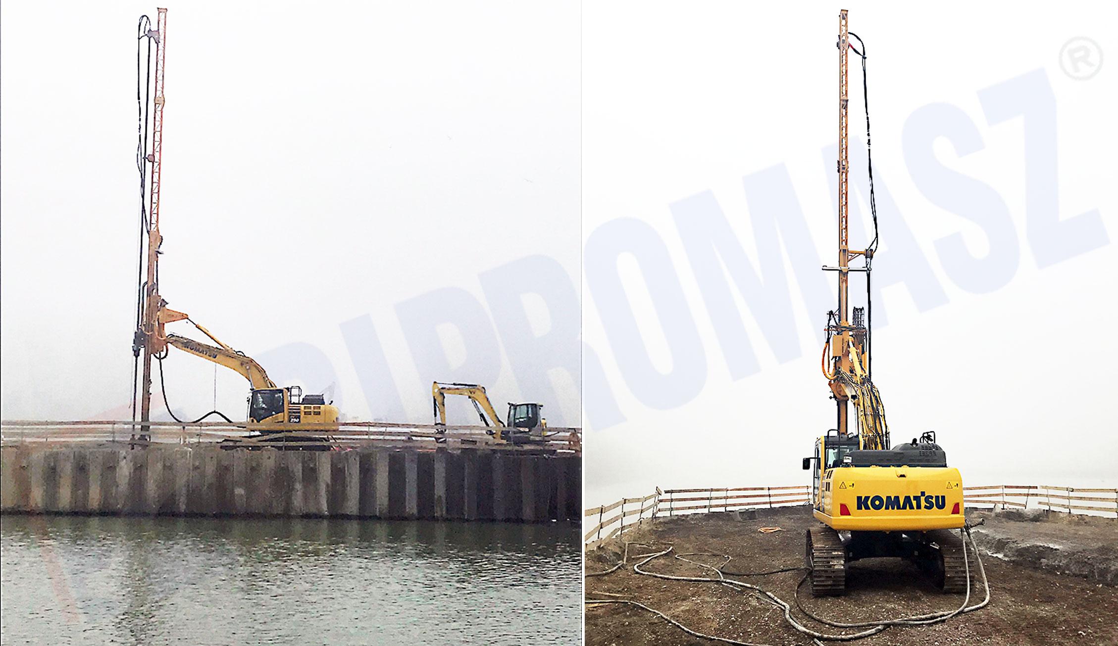 Zdjęcia z placu budowy w Bratysławie – fundamenty na nabrzeżu rzeki Dunaj - wykonanie firmy Bipromasz