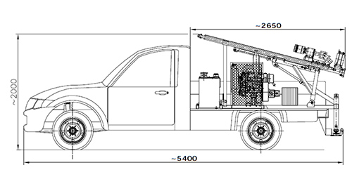 Wiertnica samochodowa typ H13S w położeniu transportowym