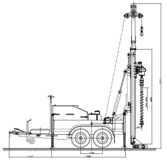 Wiertnica pionowa geotechniczna H20P - na przyczepie w położeniu roboczym