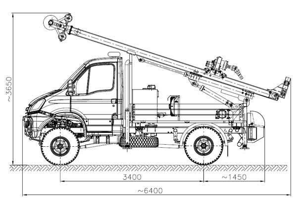 Wiertnica typu H20S w położeniu transportowym