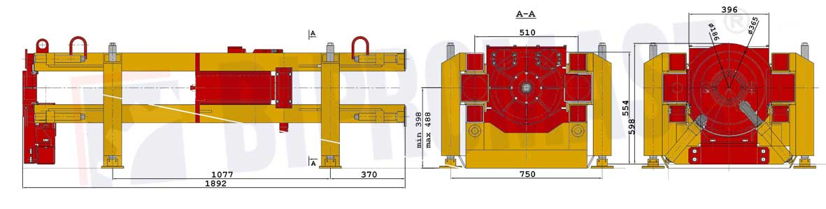 Wiertnica pozioma sterowana WPS-36S - wymiary - Bipromasz