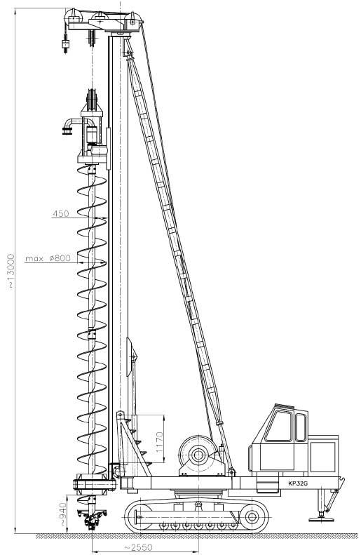 Kafar z osprzętem palowniczym KPG-14/60 - wersja palownicza