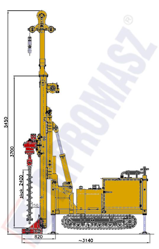 Wiertnica pionowa geotechniczna typ MWG6 seria H25G – na podwoziu gąsienicowym w położeniu roboczym