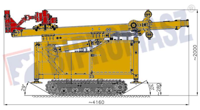 Wiertnica pionowa geotechniczna typ MWG6 seria H25G – na podwoziu gąsienicowym w położeniu transportowym