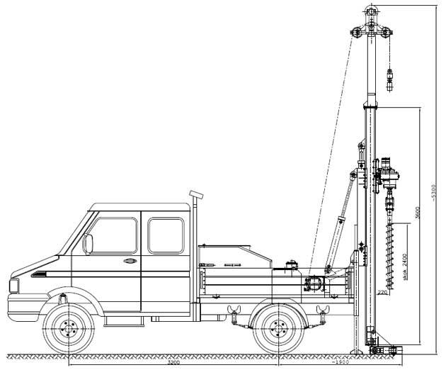 Wiertnica pionowa geotechniczna H25S - na samochodzie ciężarowym