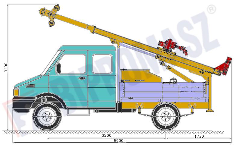 Wiertnica pionowa geotechniczna H25S - na samochodzie ciężarowym w położeniu transportowym