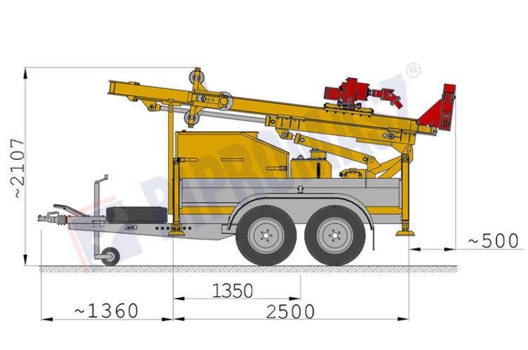 Wiertnica pionowa geotechniczna H20P - na przyczepie w położeniu transportowym