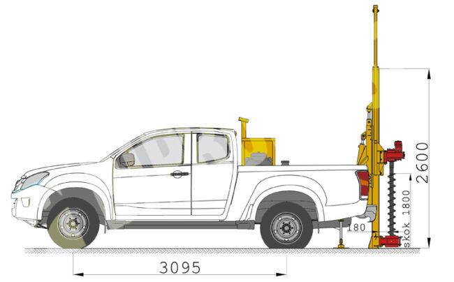 Wiertnica samochodowa typ H16S w położeniu roboczym
