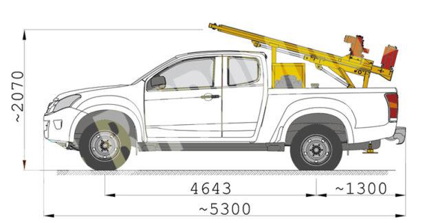 Wiertnica samochodowa typ H16S w położeniu transportowym