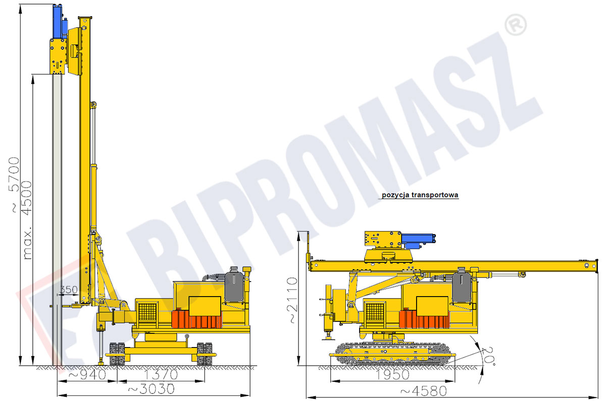Kafar KB-3 do fotowoltaiki - pozycja transportowa - Bipromasz