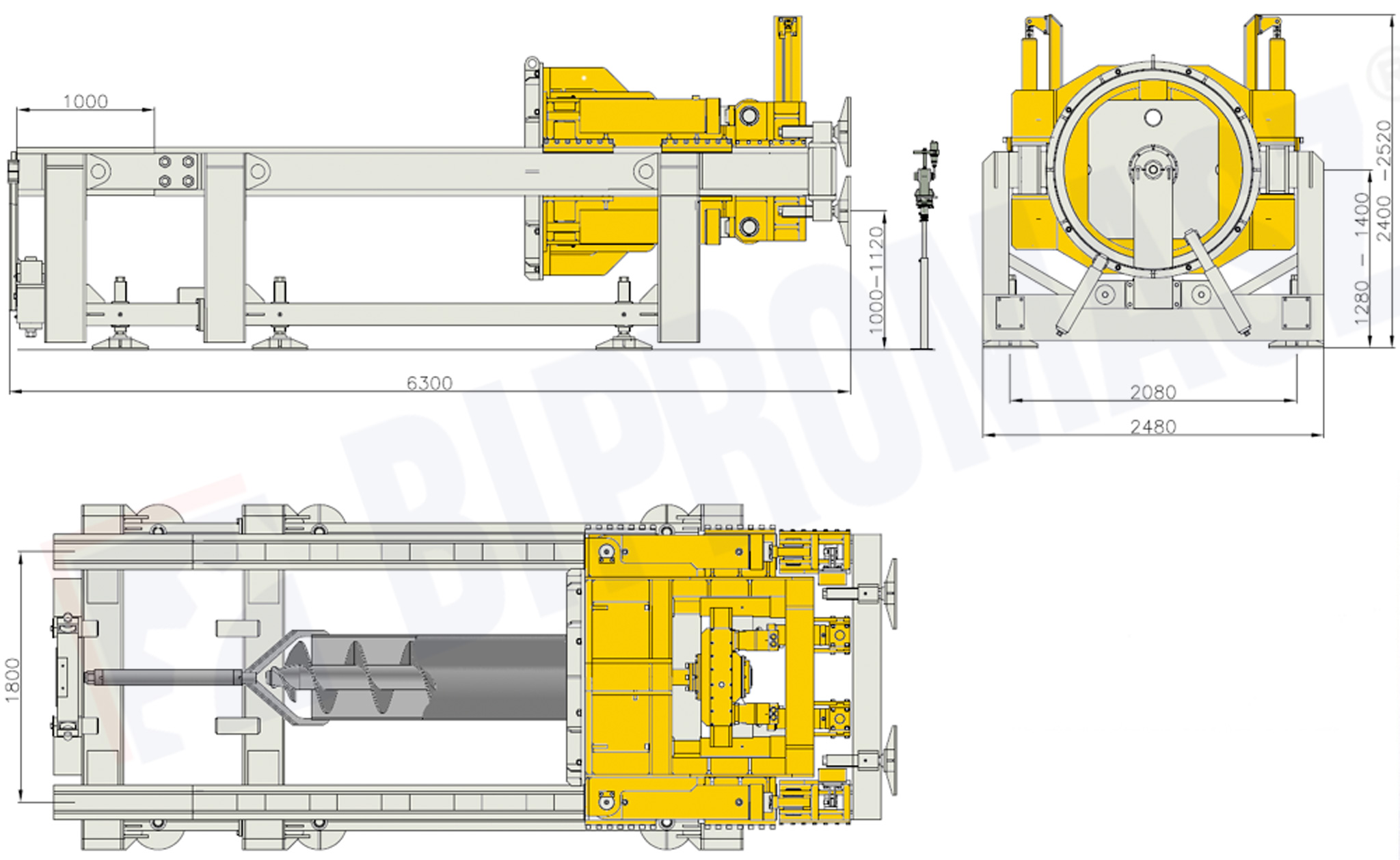 Wietnica pozioma sterowana WPS-140 w wymiarach technicznych