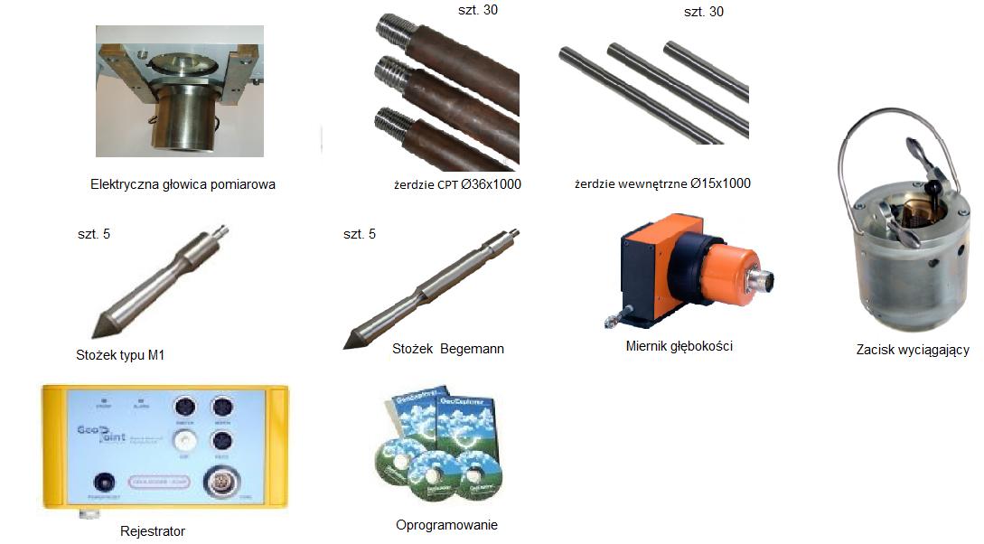 Oprzyrządowanie narzędziowe i pomiarowe do sondy CPT-10 - opcja 2