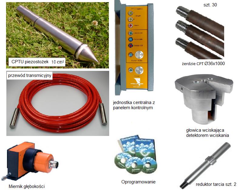 Oprzyrządowanie narzędziowe i pomiarowe do sondy CPT-10 - opcja 3