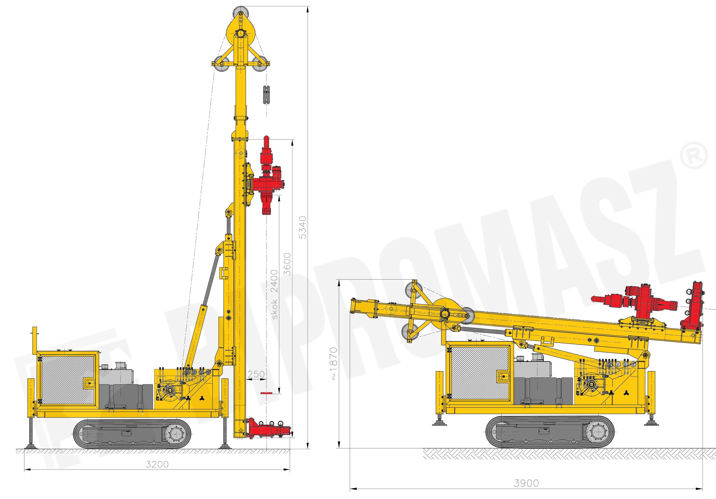 Lekka wiertnica gąsienicowa do pomp ciepła i studni typu MWG-2 produkcji Bipromasz - rysunki techniczne