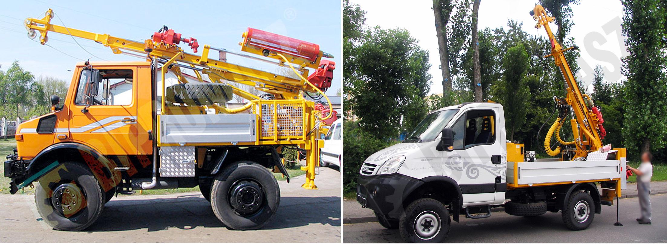 Wiertnica pionowa geotechniczna H25S - na samochodzie ciężarowym produkcji Bipromasz