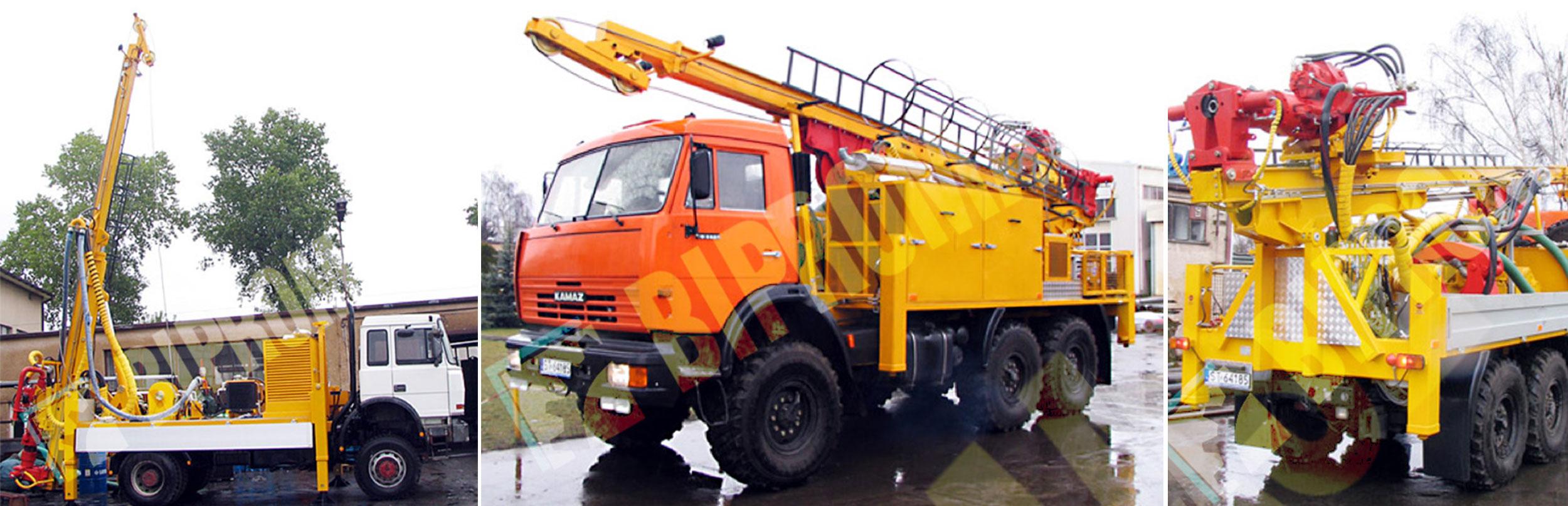 Wiertnica do pomp ciepła i studni H35S – na samochodzie ciężarowym produkcji firmy Bipromasz