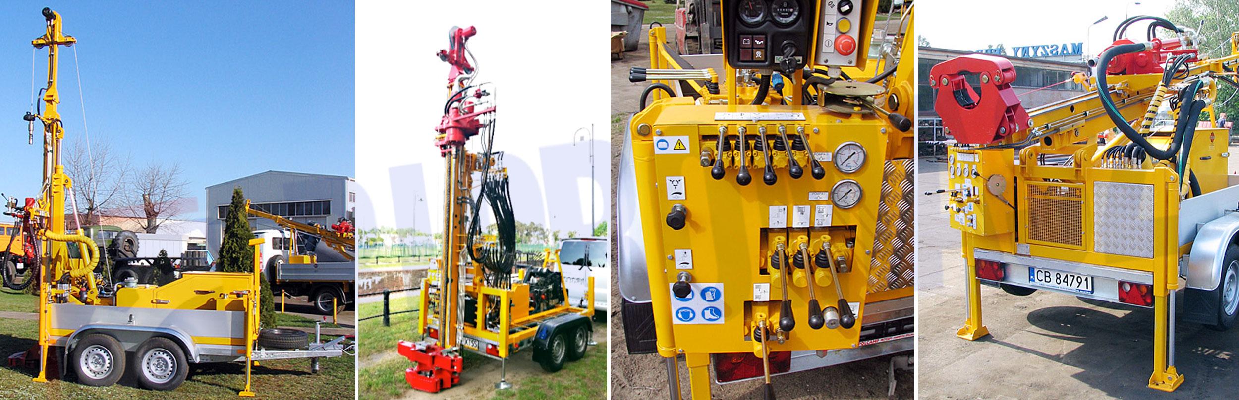 Wiertnica pionowa geotechniczna H20P – na przyczepie produkcji firmy Bipromasz
