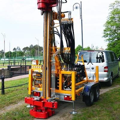Wiertnica pionowa geotechniczna H25P - na przyczepie